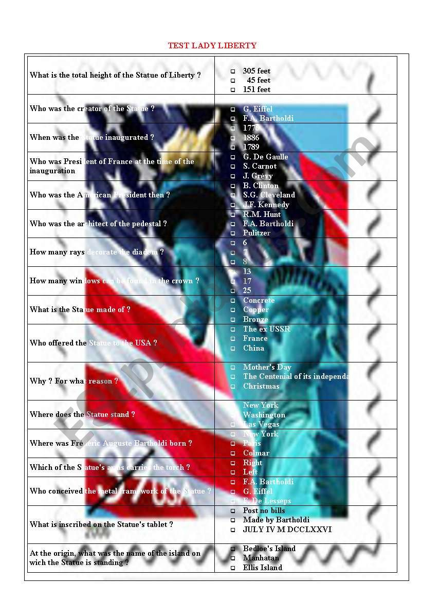 Test about Lady Liberty 3/5 worksheet