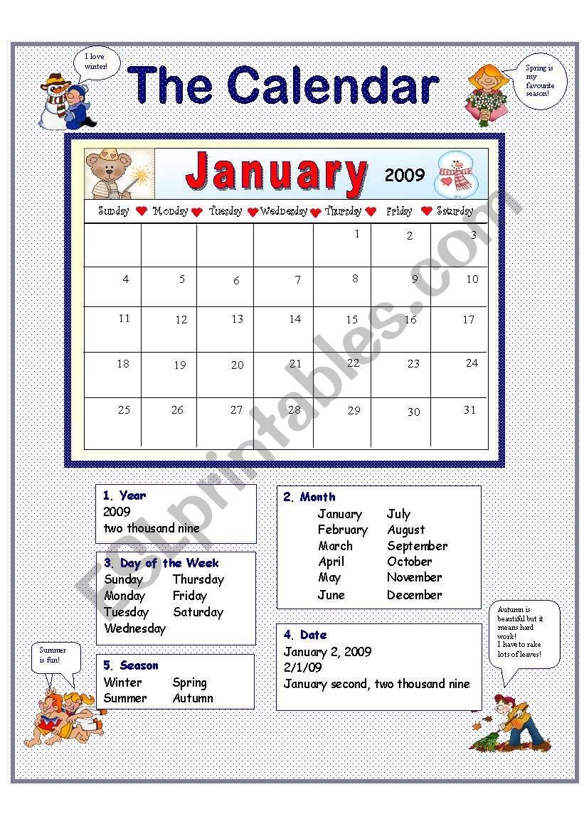 Calendar Worksheet Generator : The calendar esl worksheet by anna p