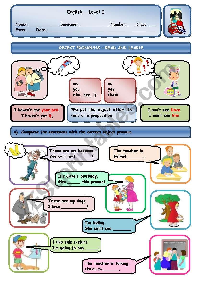 OBJECT PRONOUNS worksheet