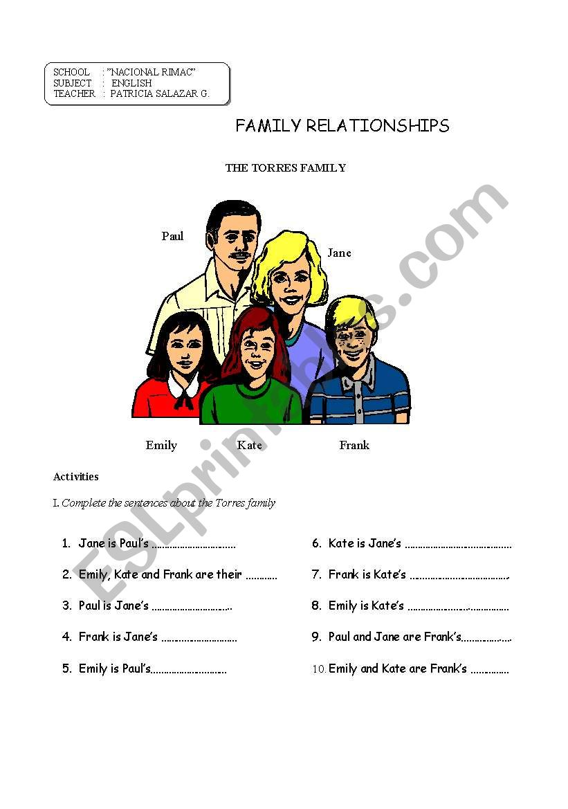 The Torres family worksheet