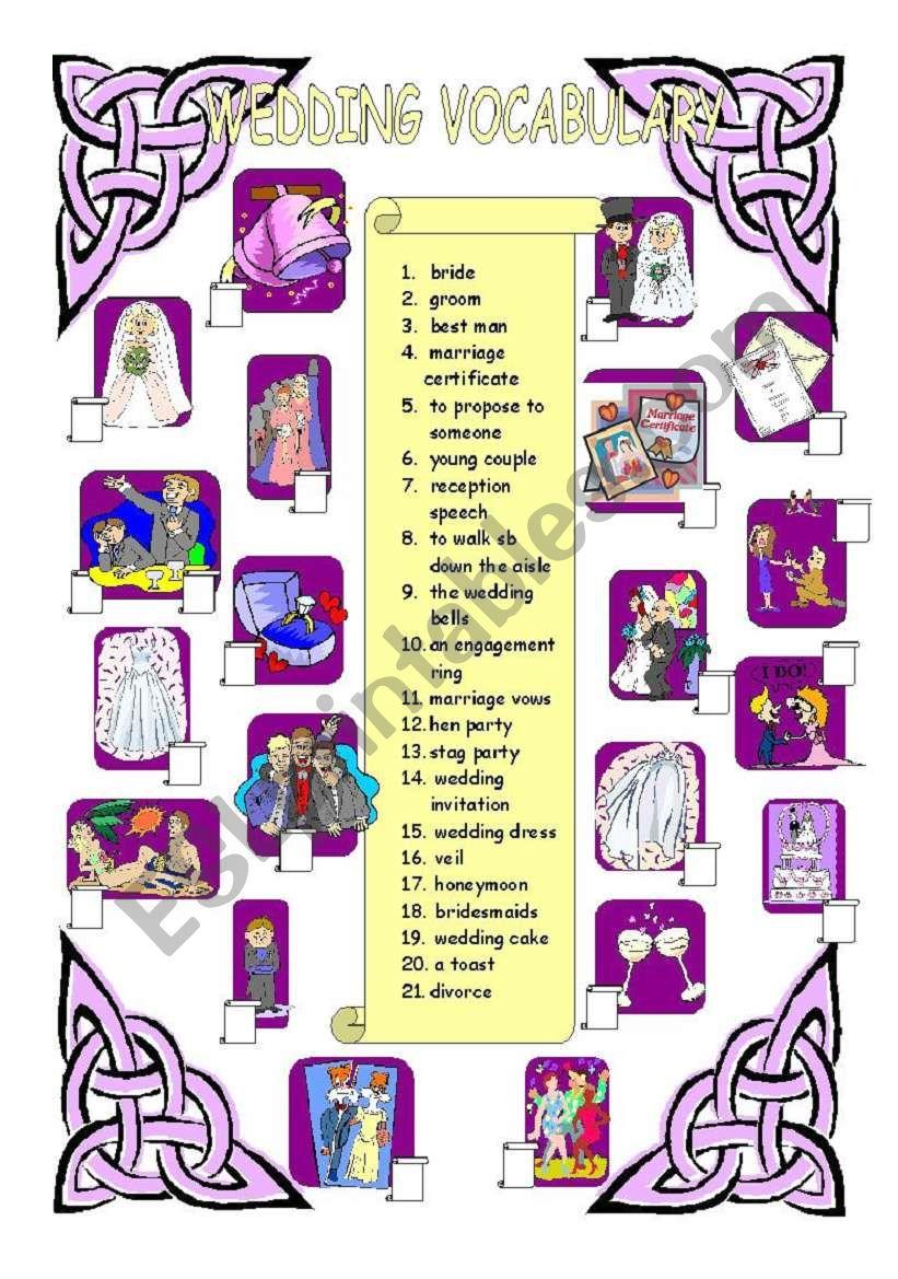 Wedding vocabulary  worksheet