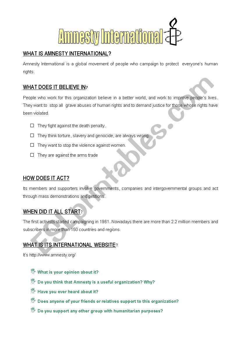 Amnesty International worksheet