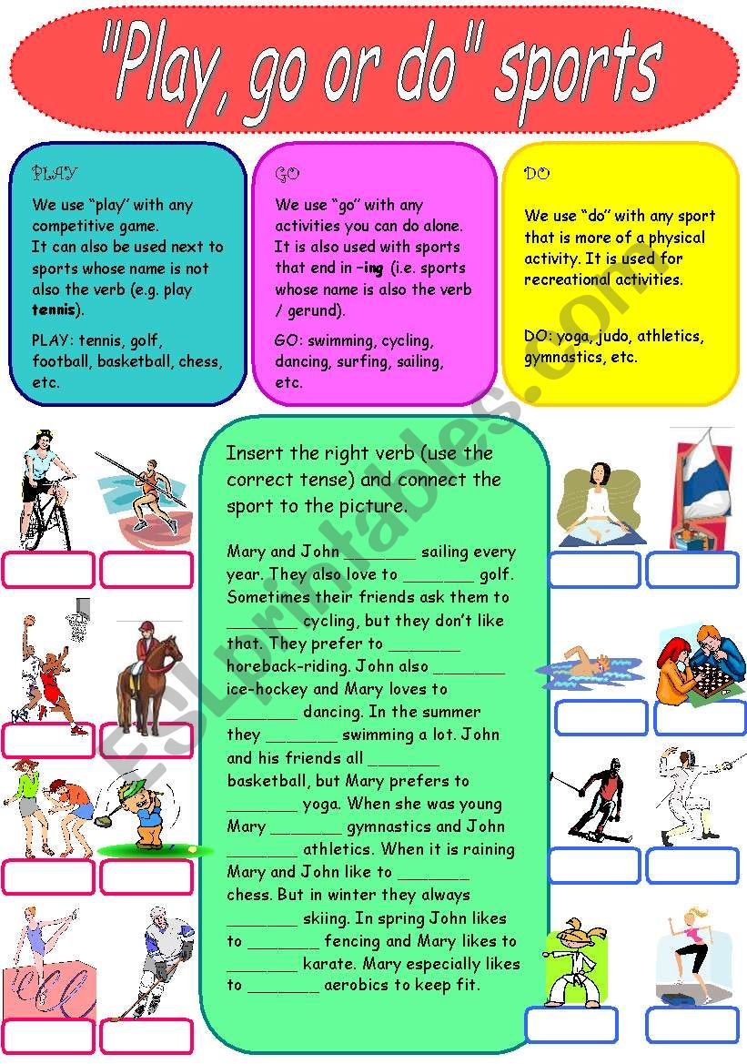 Play, go or do - sports worksheet