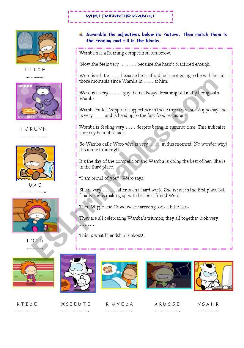 ADJECTIVES-Friendship worksheet