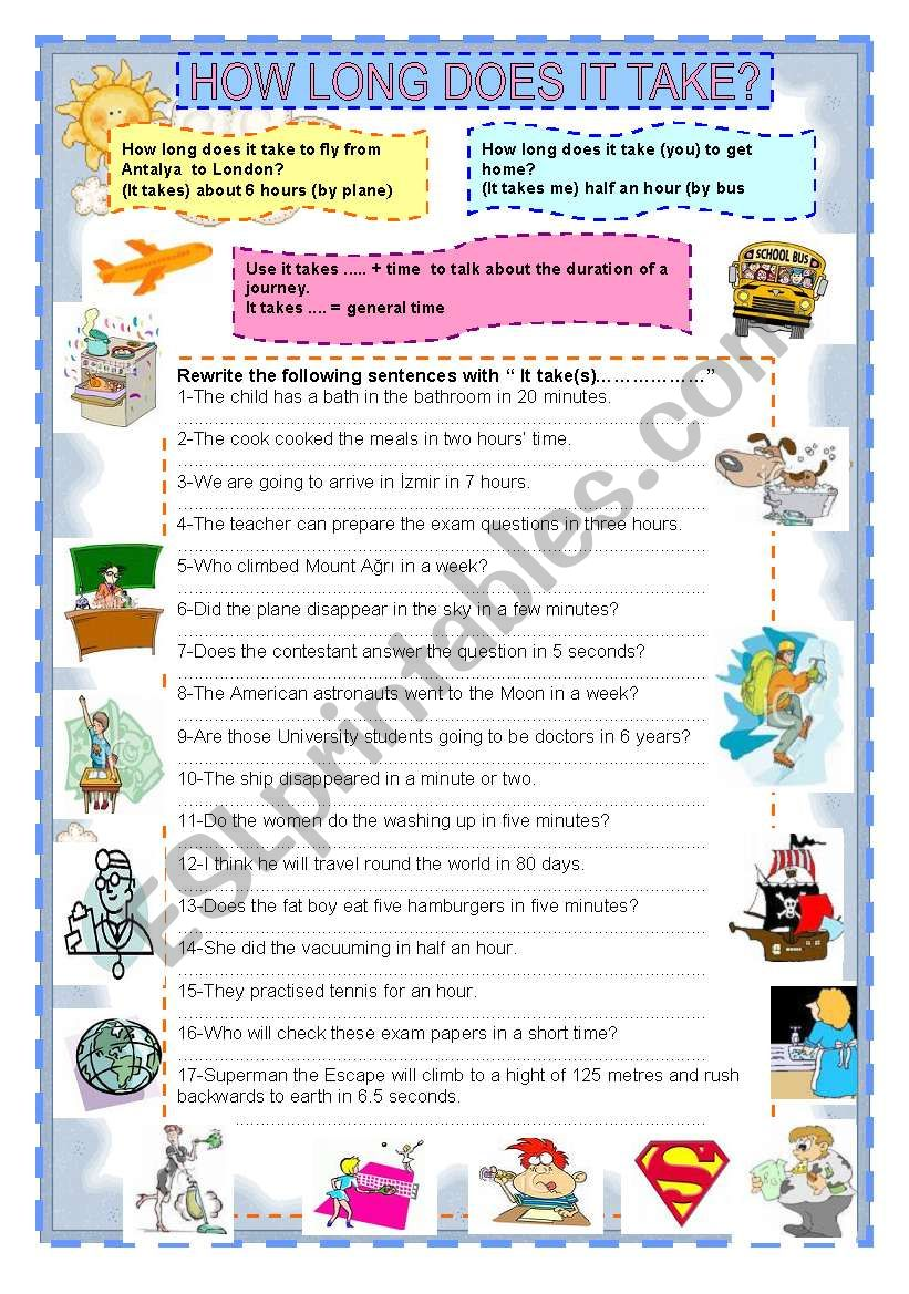 HOW LONG DOES IT TAKE?  worksheet