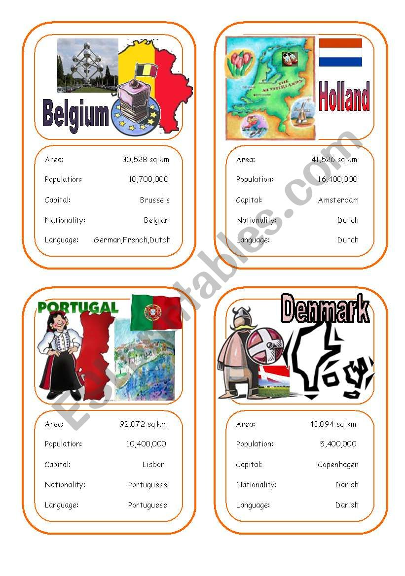 Country cards 2 worksheet