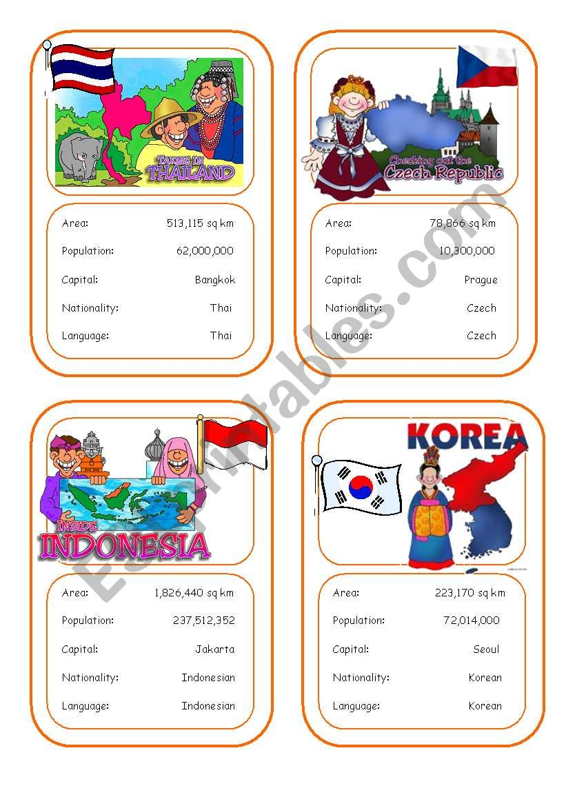 Country cards 3 worksheet