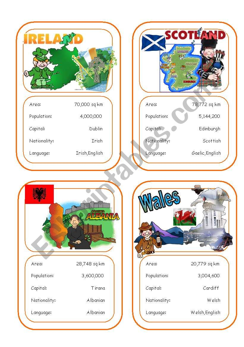 Country cards 4 worksheet