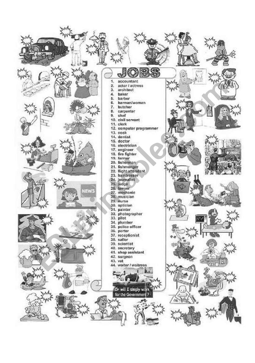 JOBS &  OCCUPATIONS  B&W worksheet