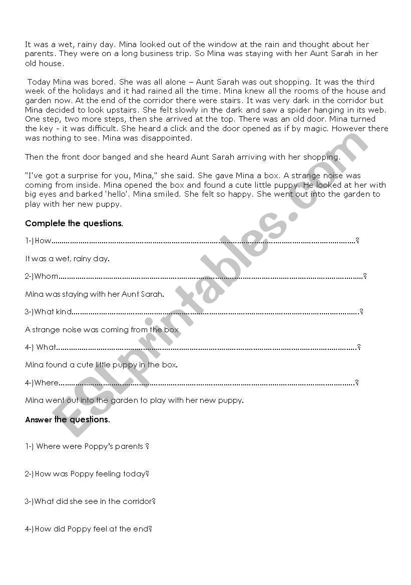 - Reading A Story And Answering Questions - ESL Worksheet By Ozlemefes