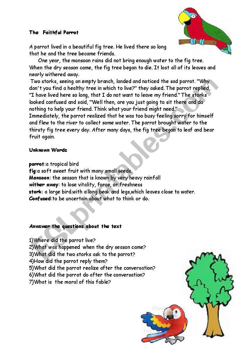 faithful parrot worksheet