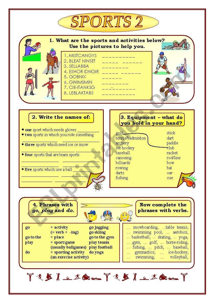Sports 2 3 Part Two Esl Worksheet By Jadd