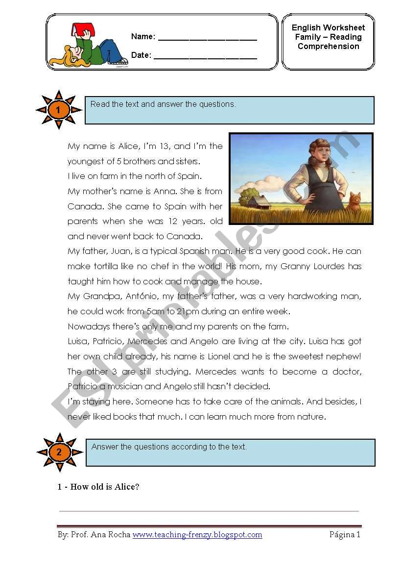 Family worksheet- reading compreenshion