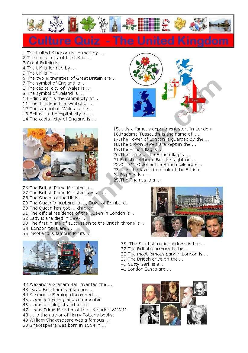 British Culture Quiz worksheet