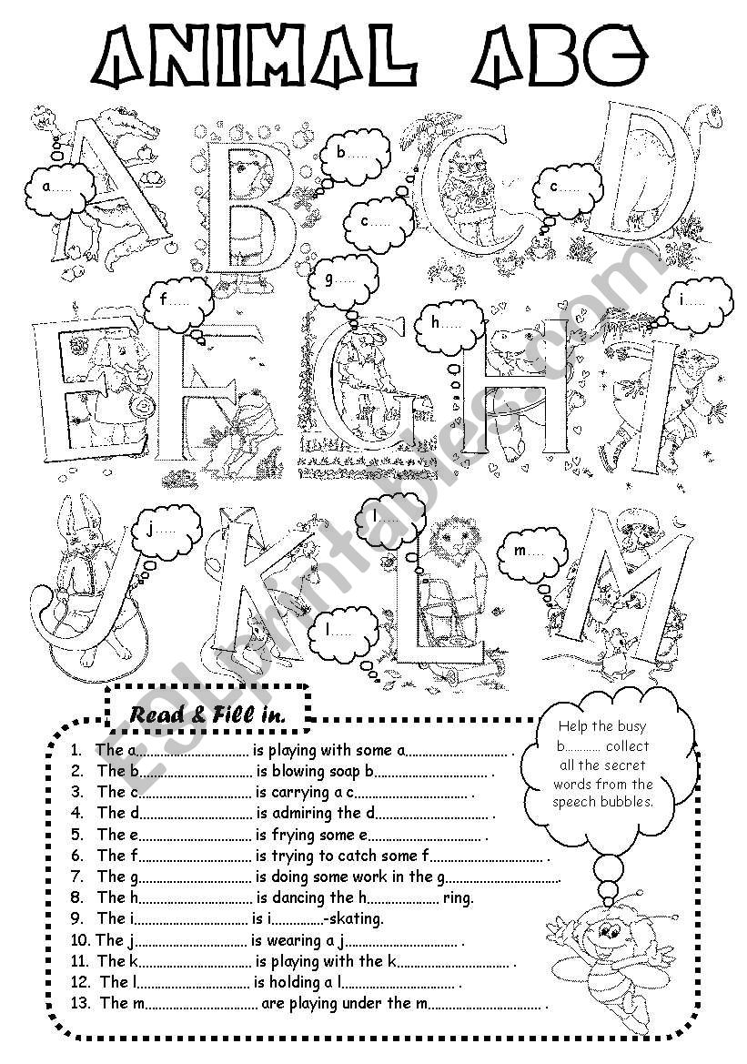 Animal ABC (3 pages) worksheet