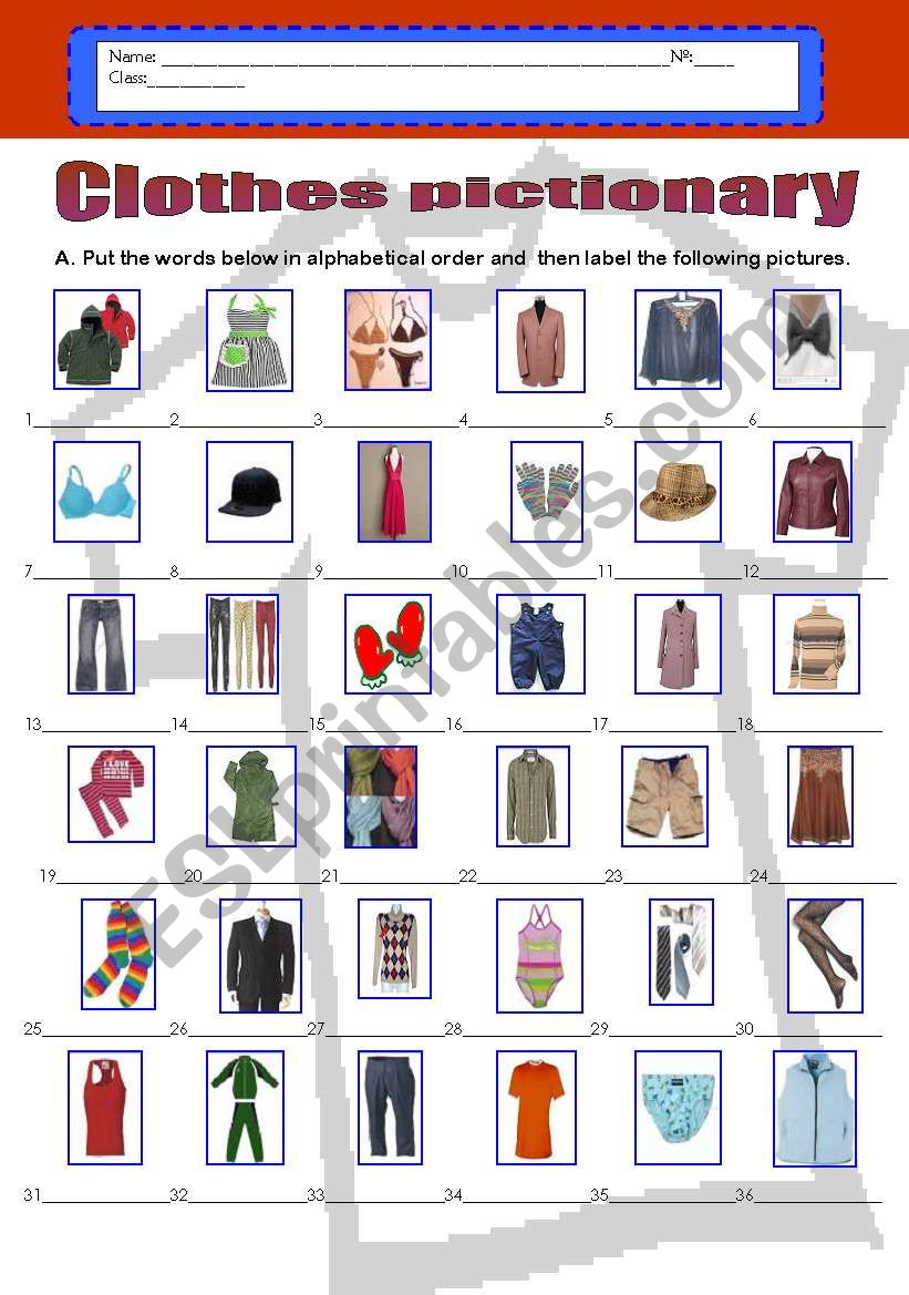 English worksheets: Clothes pictionary - (36 words) in ...