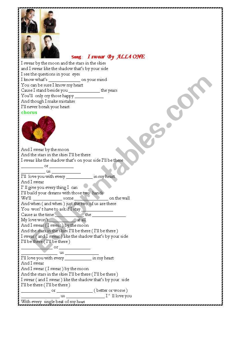 All4One Song worksheet