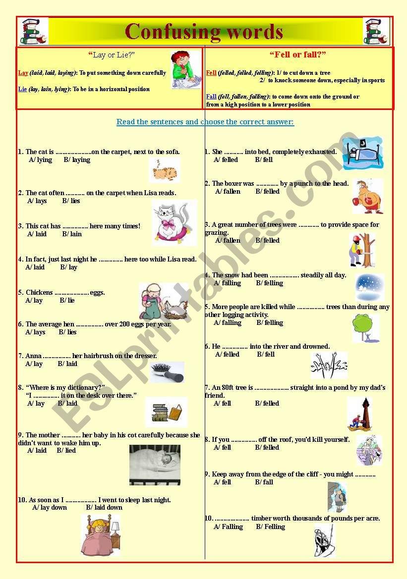 Confusing words worksheet