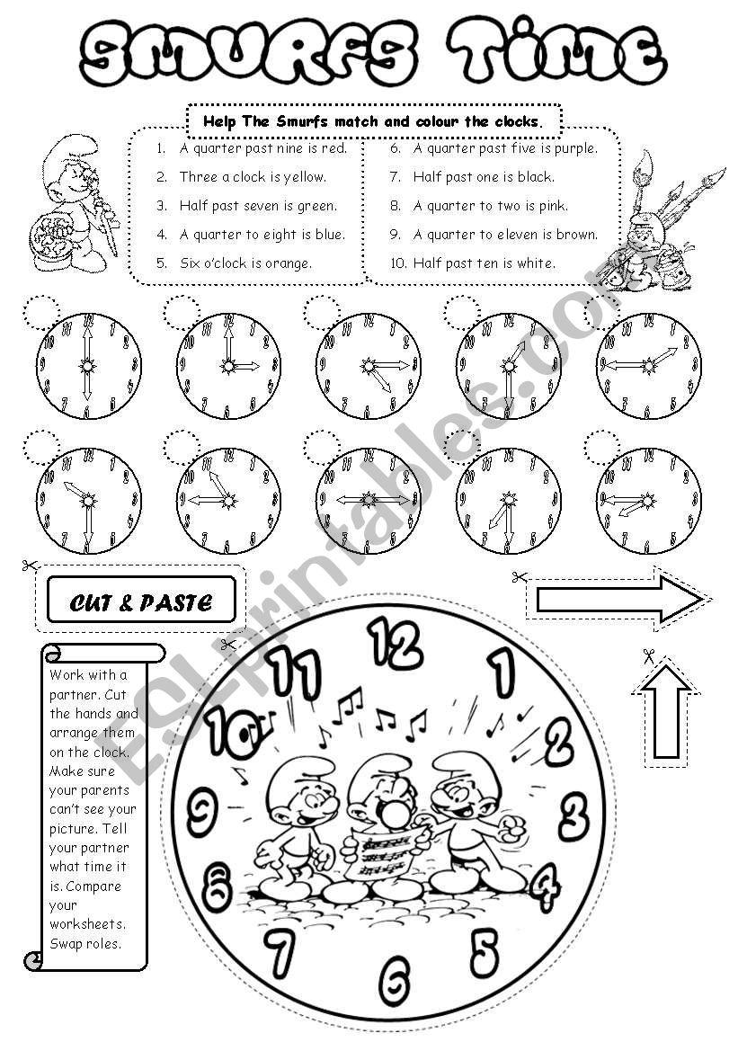 Smurfs Time worksheet