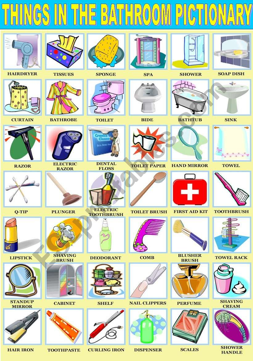 Bathroom Things: English Worksheets: THINGS IN THE BATHROOM PICTIONARY
