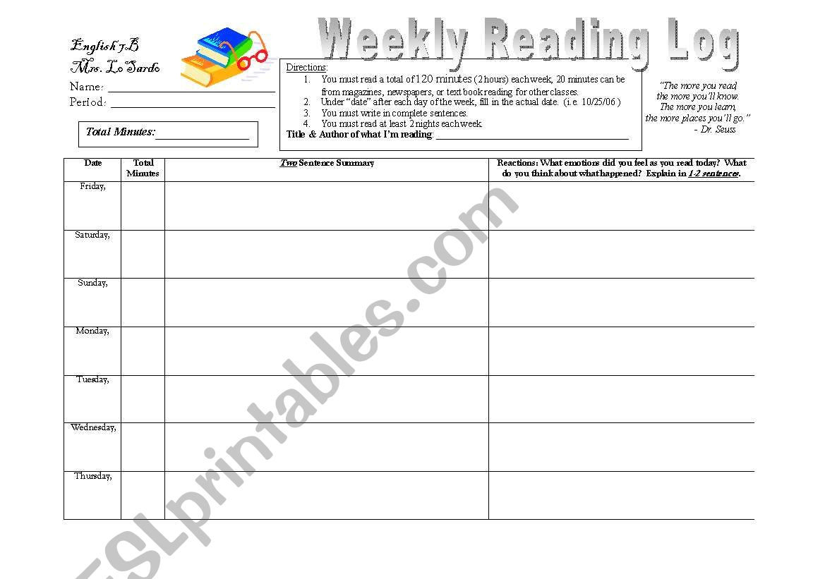 Reading Log worksheet