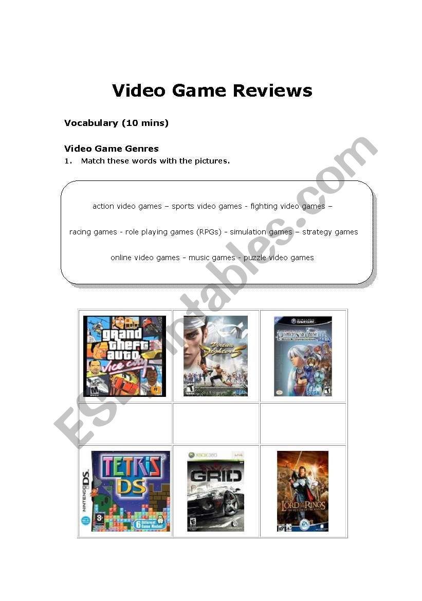 video game review worksheet - ESL - English PowerPoints: Movie Review Worksheet Manga Art Style