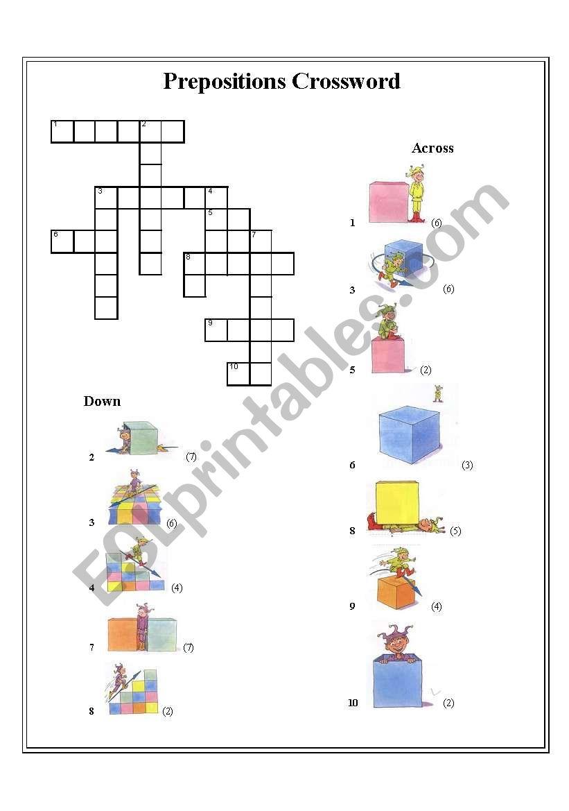 preposition crossword worksheet