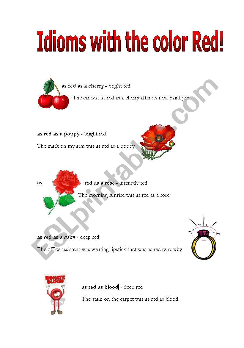 Idioms with the color red worksheet