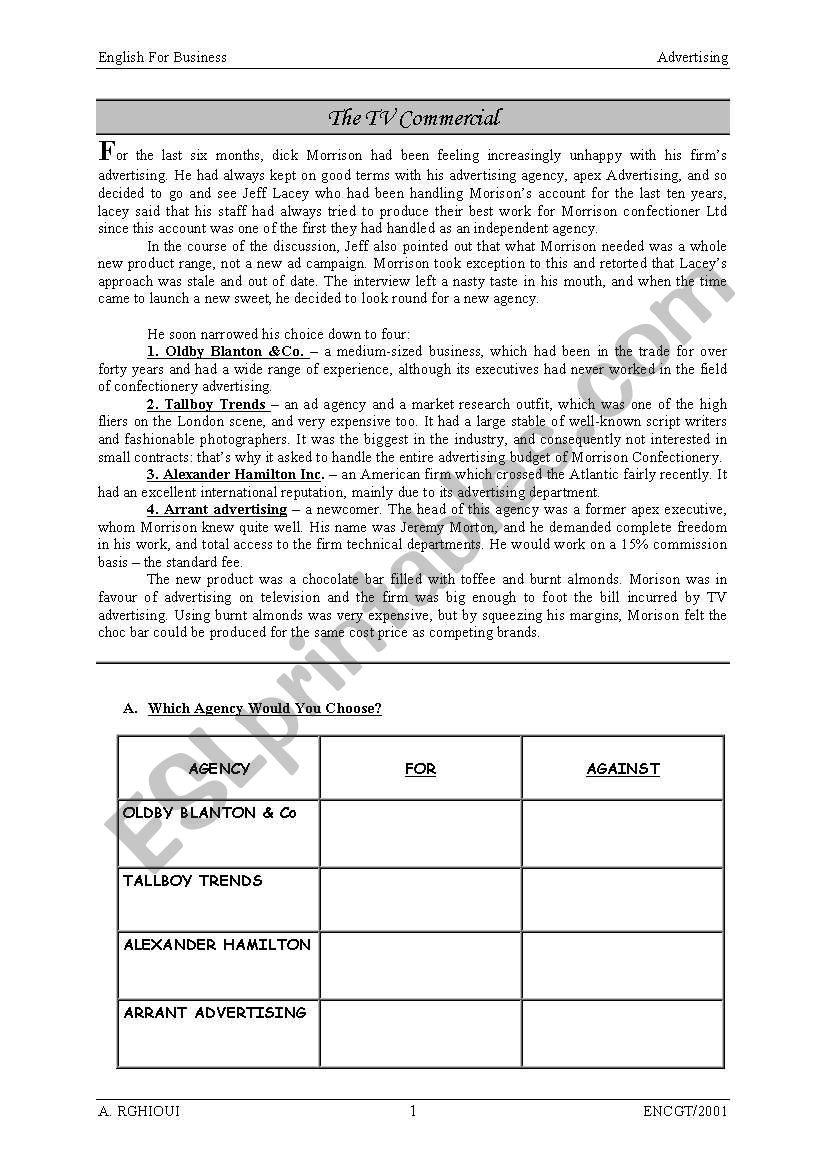 The TV commercial worksheet