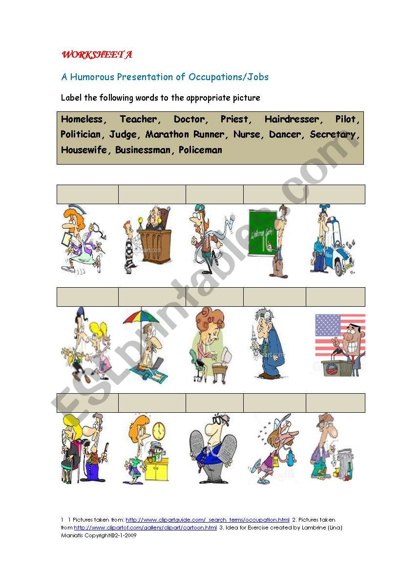 Worksheet A : A Humorous Presentation of Occupations/Jobs