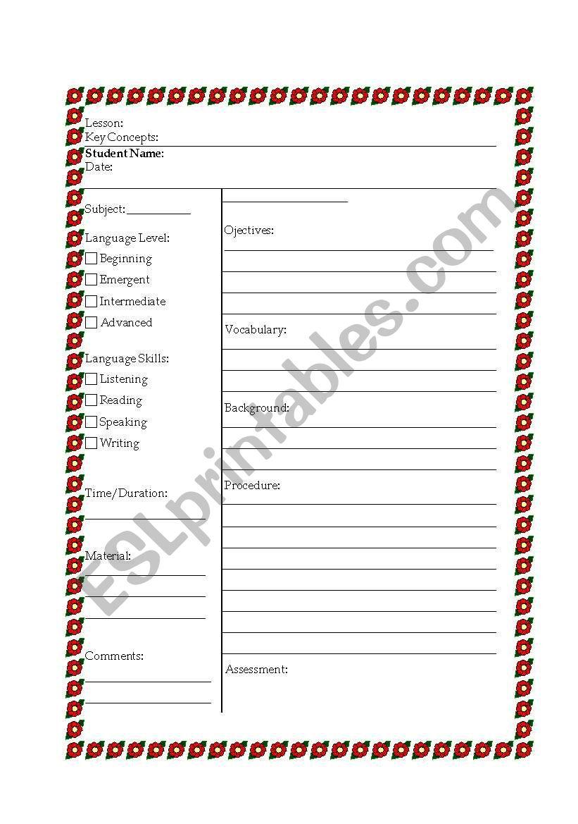 ESL Lesson Plan Template - ESL worksheet by darin