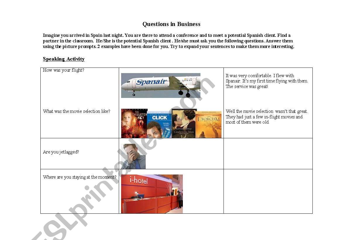 Business Questions worksheet