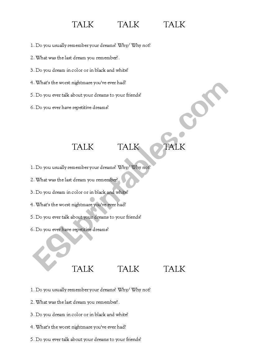 dreams - speaking worksheet