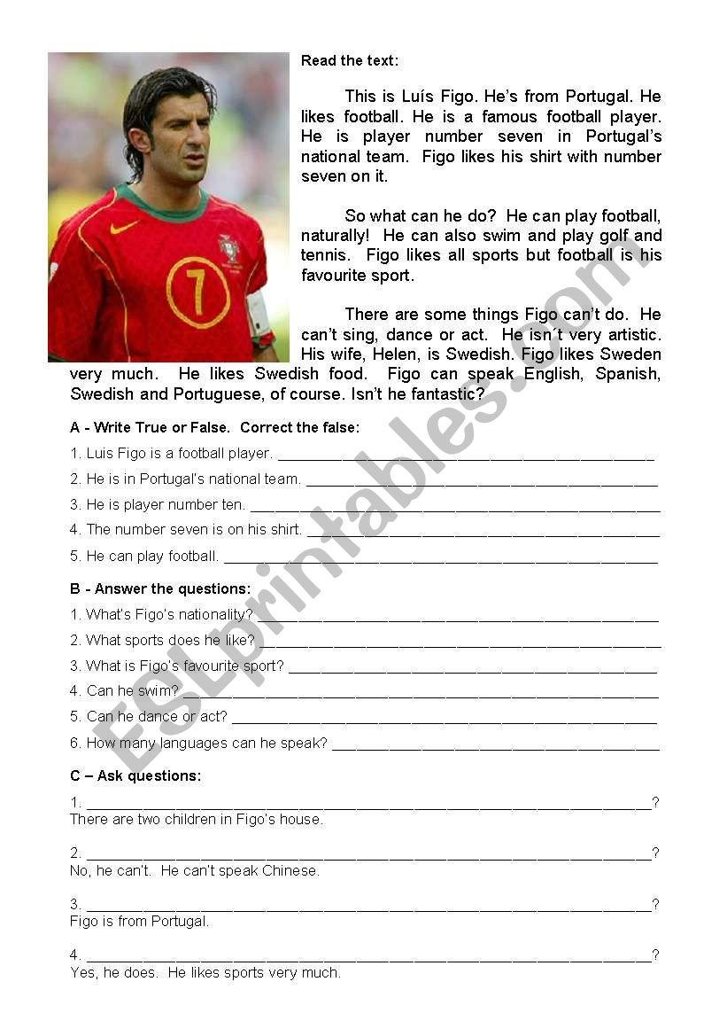 Test about Luís Figo - 5th graders