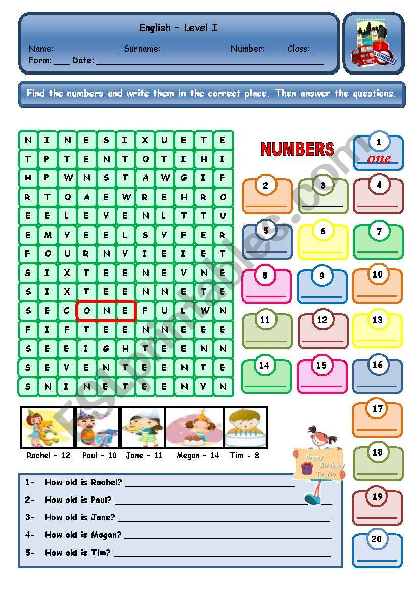 NUMBERS AND AGE worksheet