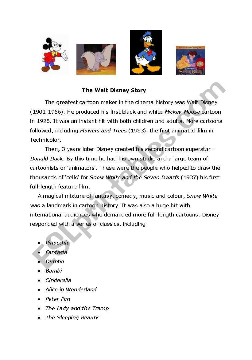The Walt Disney Story worksheet