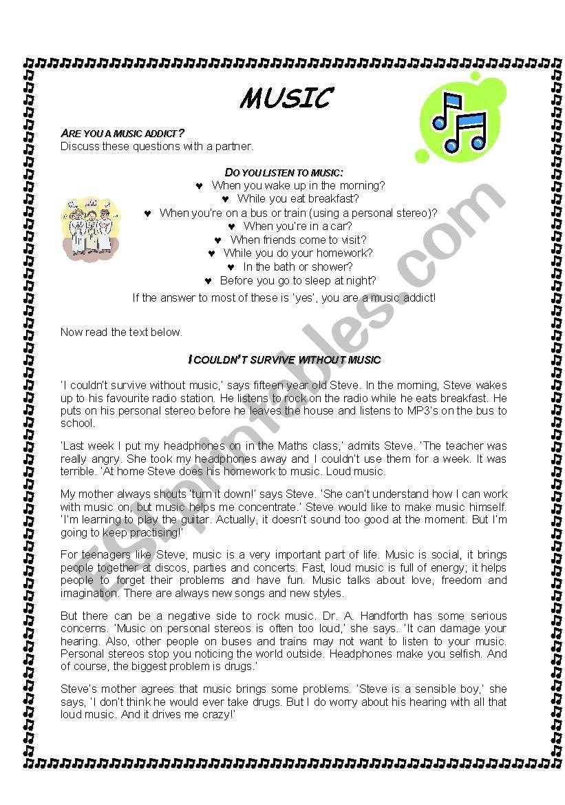 Music role play - ESL worksheet by josie25