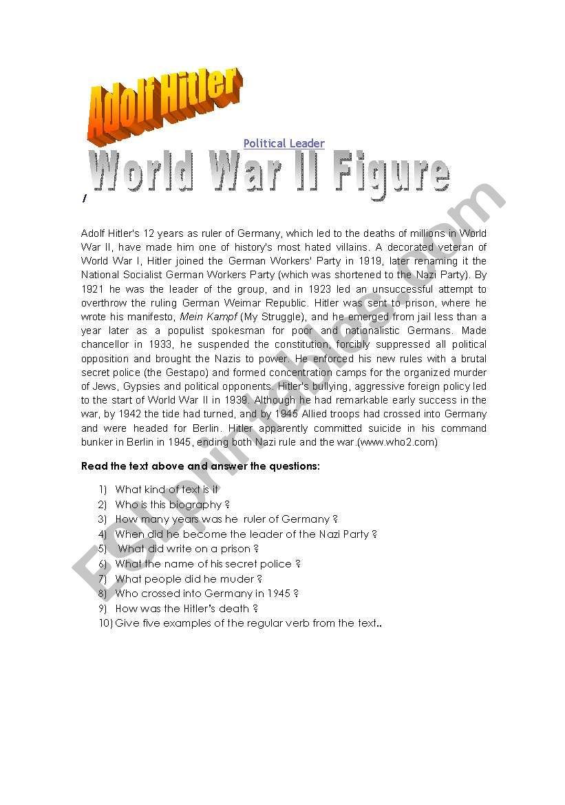 Reading:Adolf Hitler worksheet