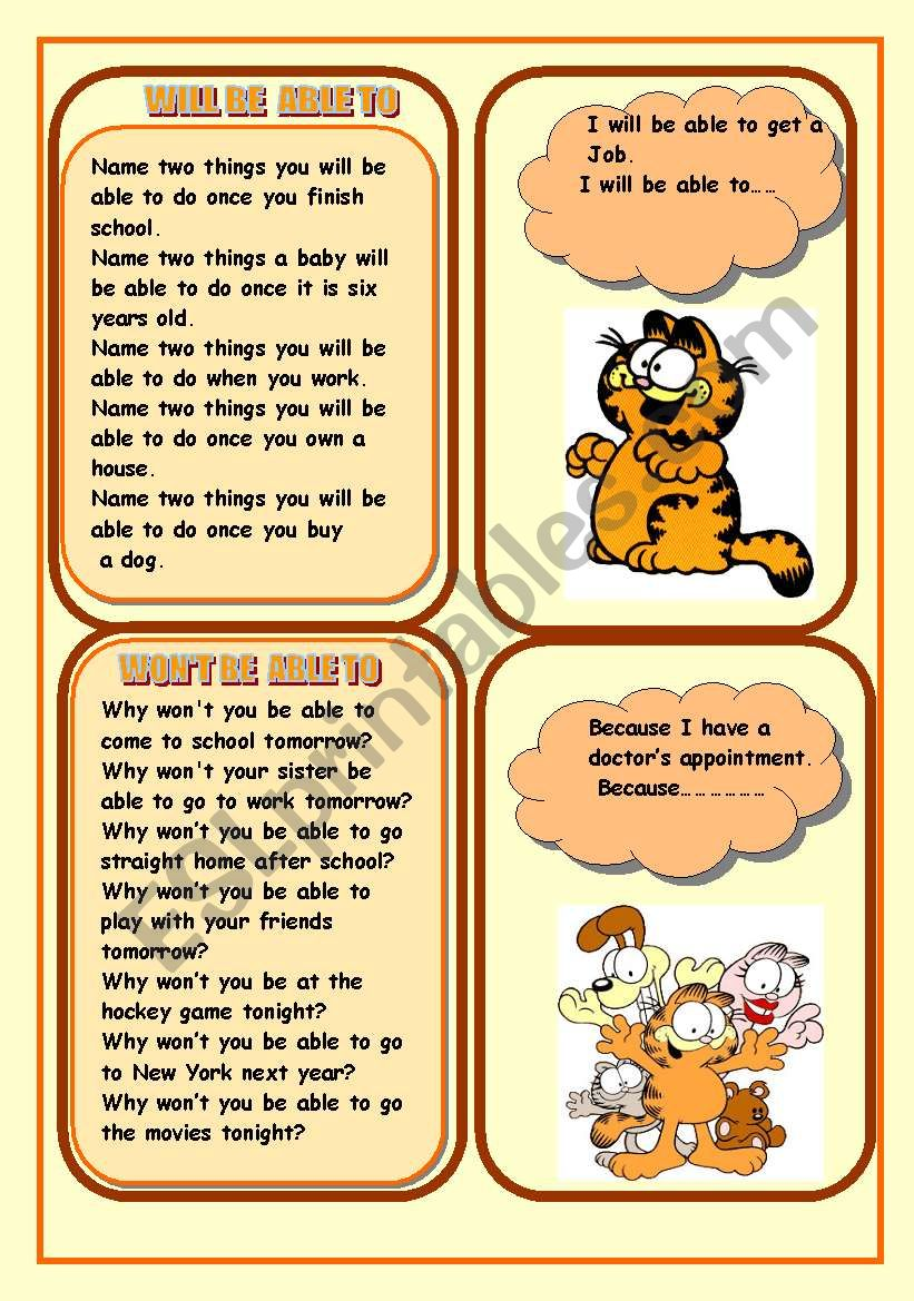 MODAL VERB WILL BE ABLE TO/WON´T BE BLE TO