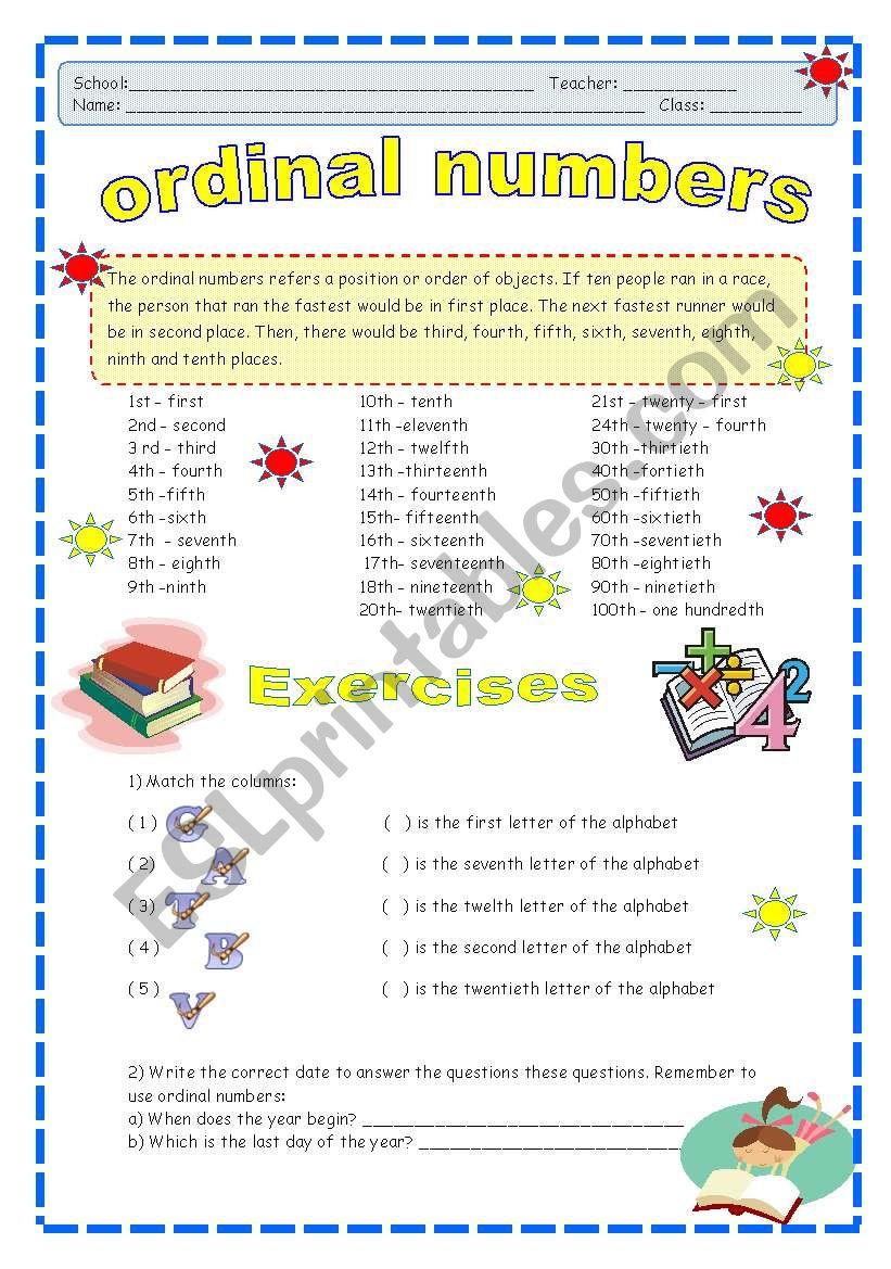 Ordinal Numbers worksheet