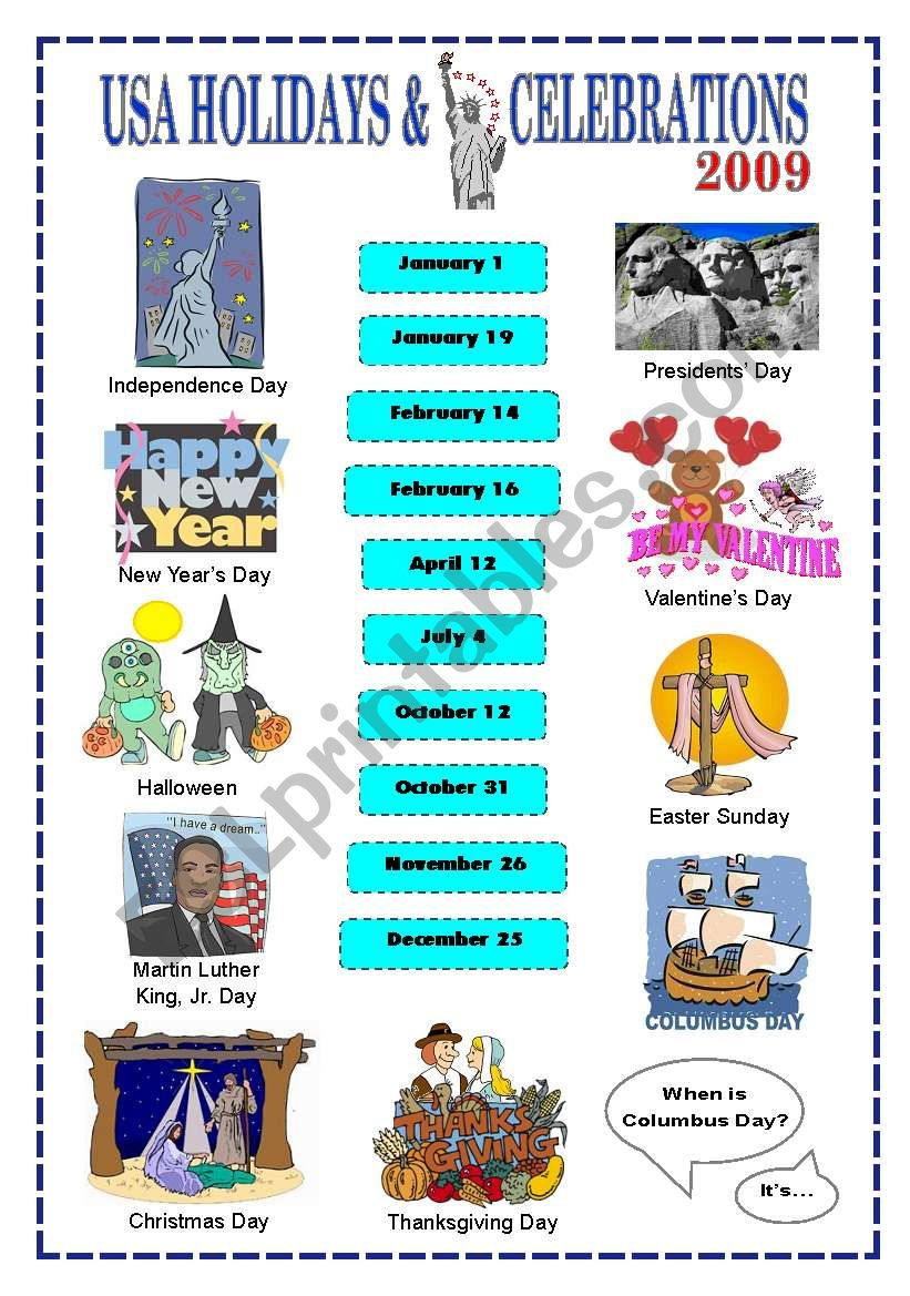 Holidays & Celebrations in the US (key included) - ESL worksheet by ...