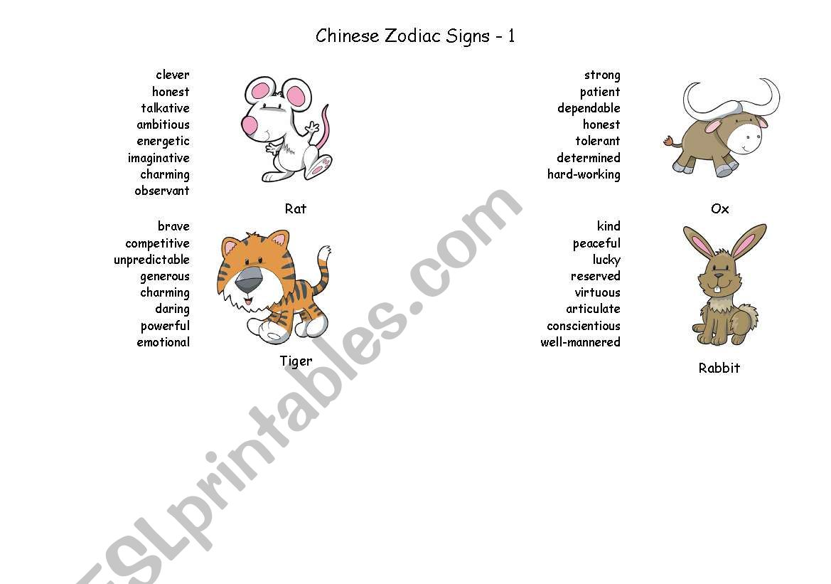 Chinese Zodiac Signs - Part 1 - ESL worksheet by Brainteaser