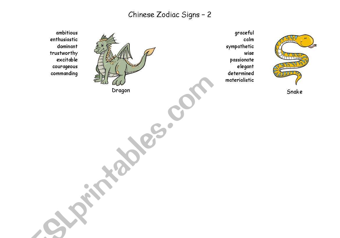 Chinese Zodiac Signs - Part 2 worksheet