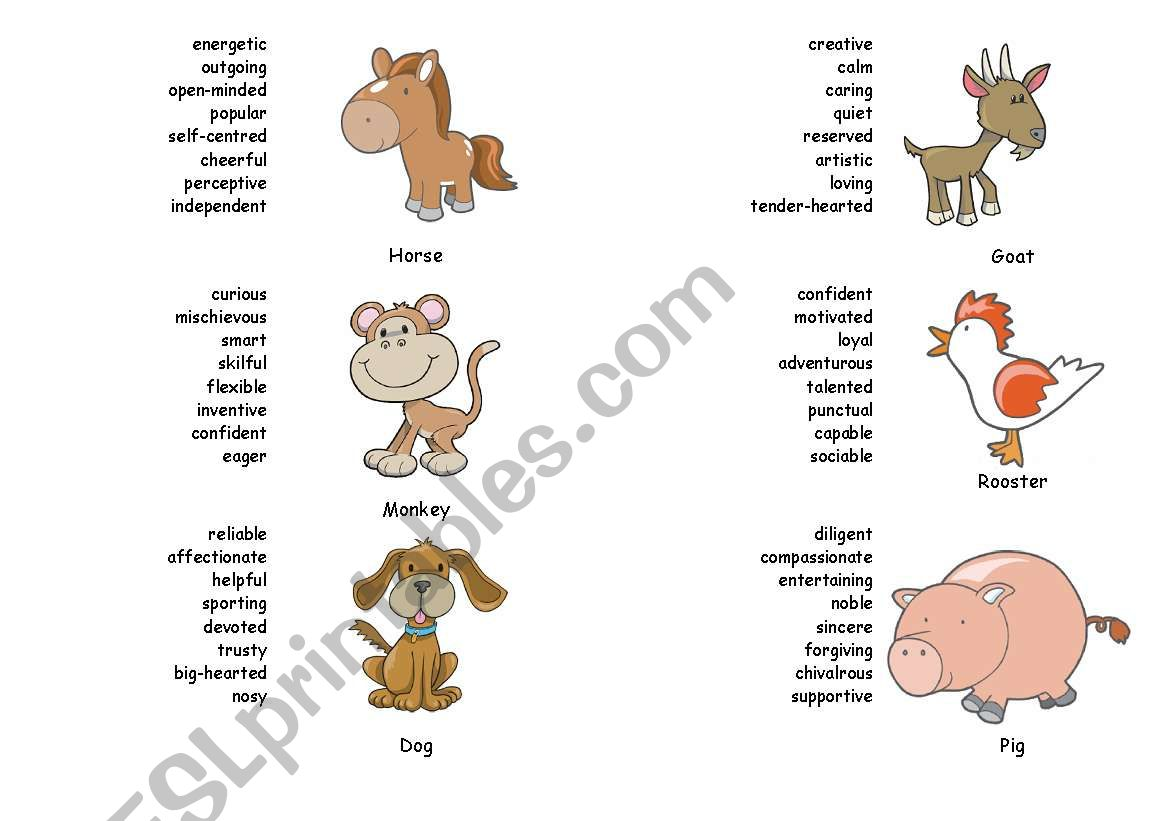 Chinese Zodiac Signs - Part 3 worksheet
