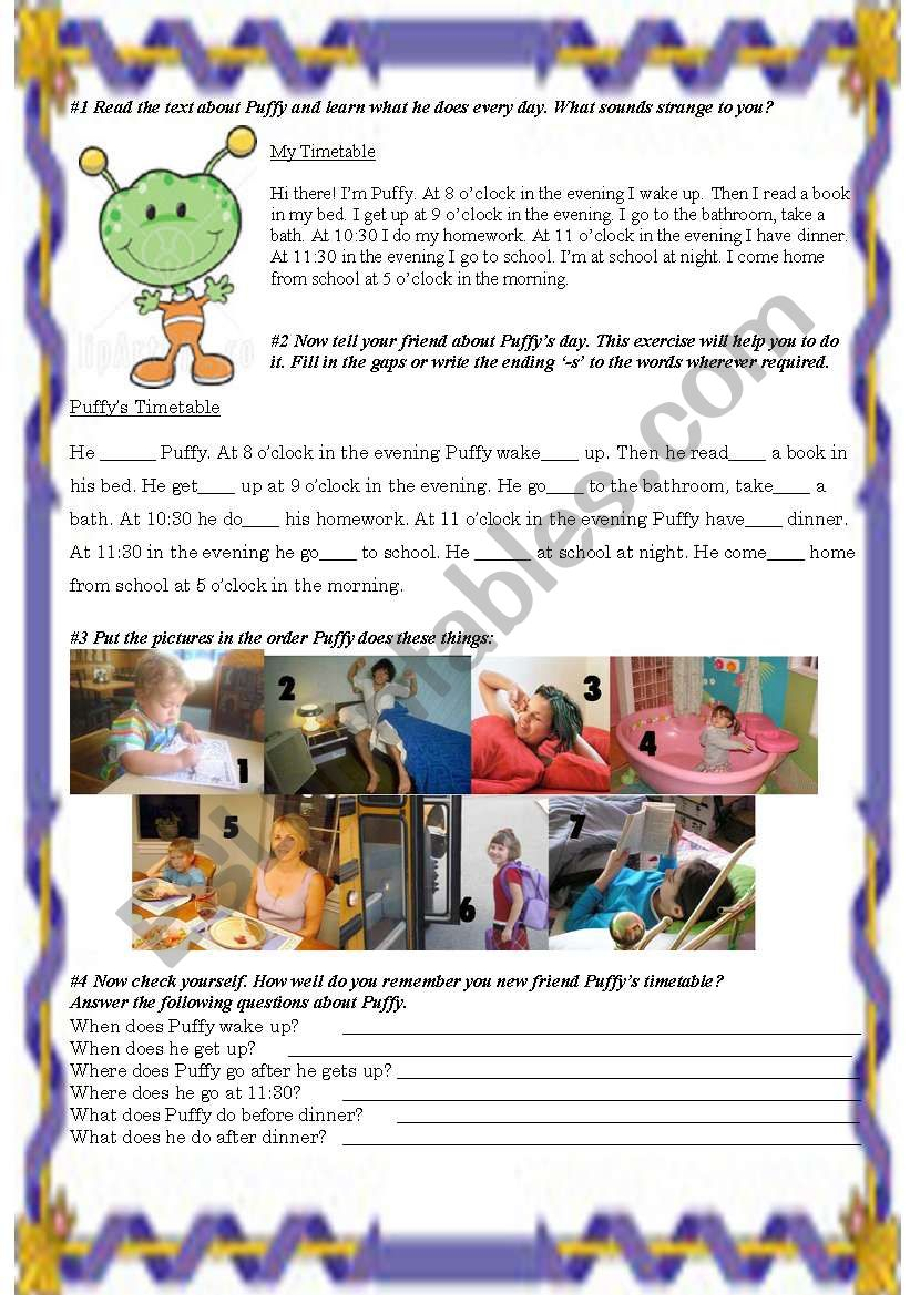 Everyday Activities for Kids + Telling the Time revision (prepositions with time, before/after)