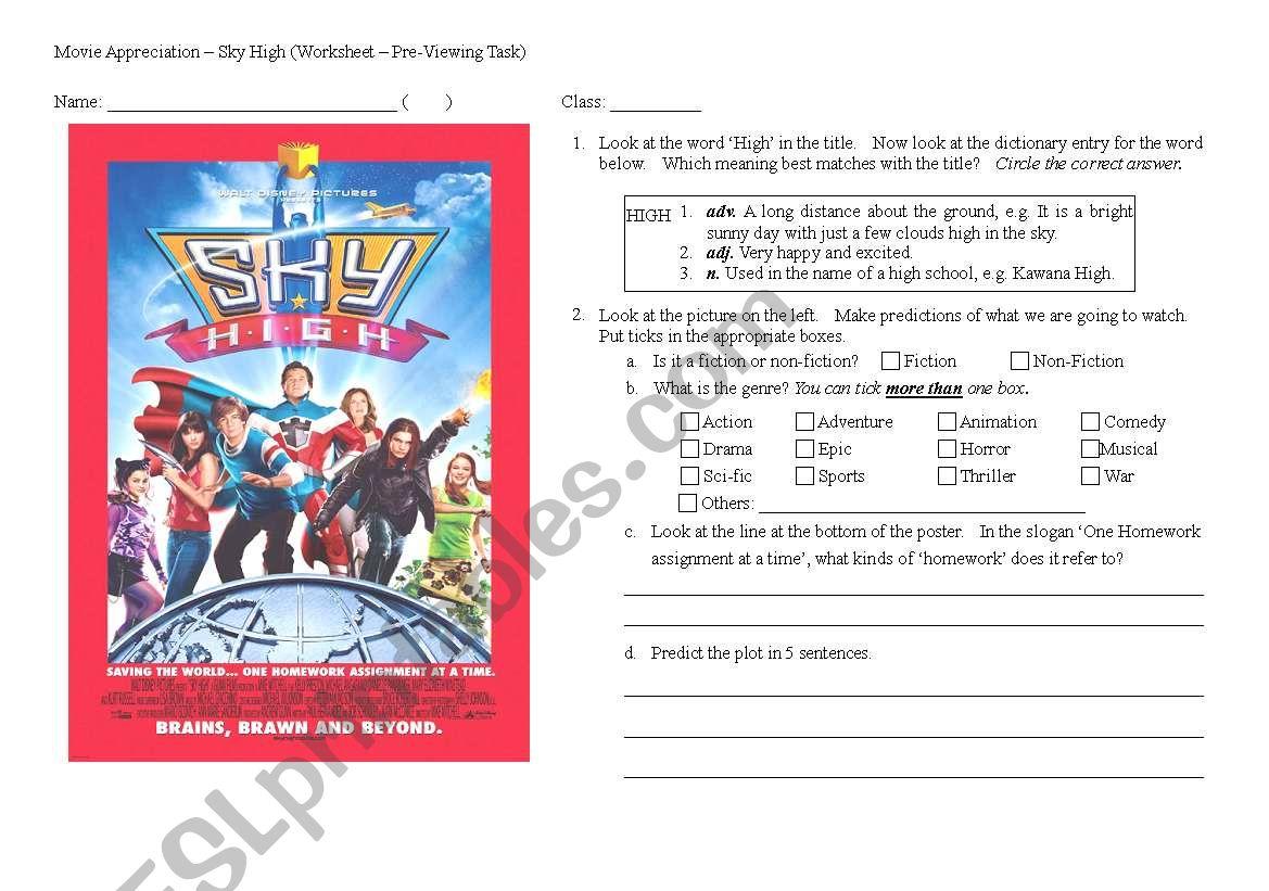 Sky High - Pre-Viewing Worksheet