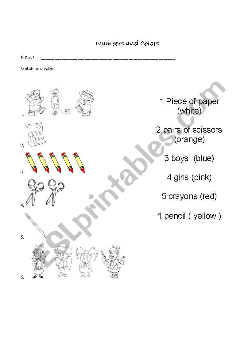 Basic colors and numbers worksheet