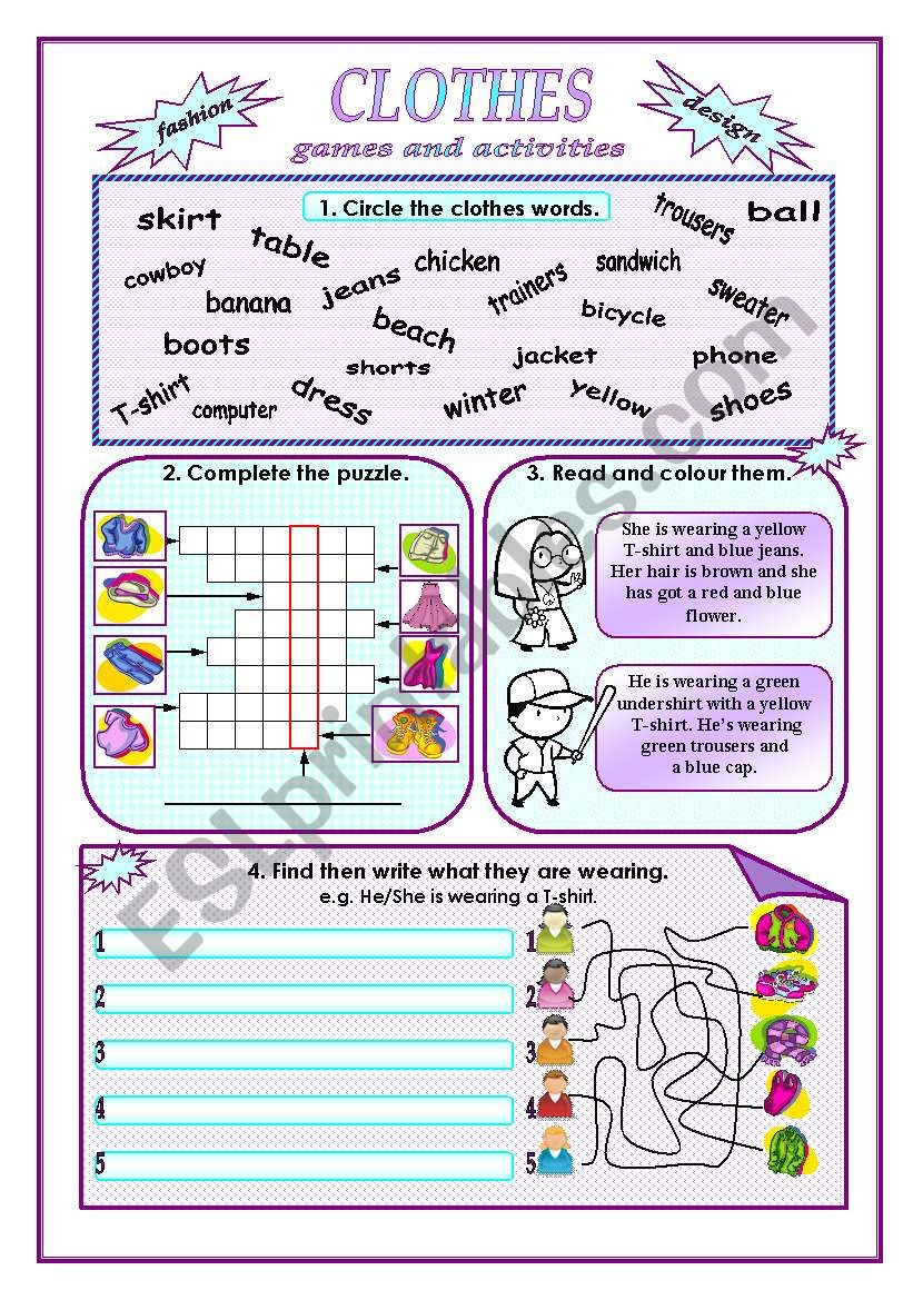 Clothes:games and activities. worksheet