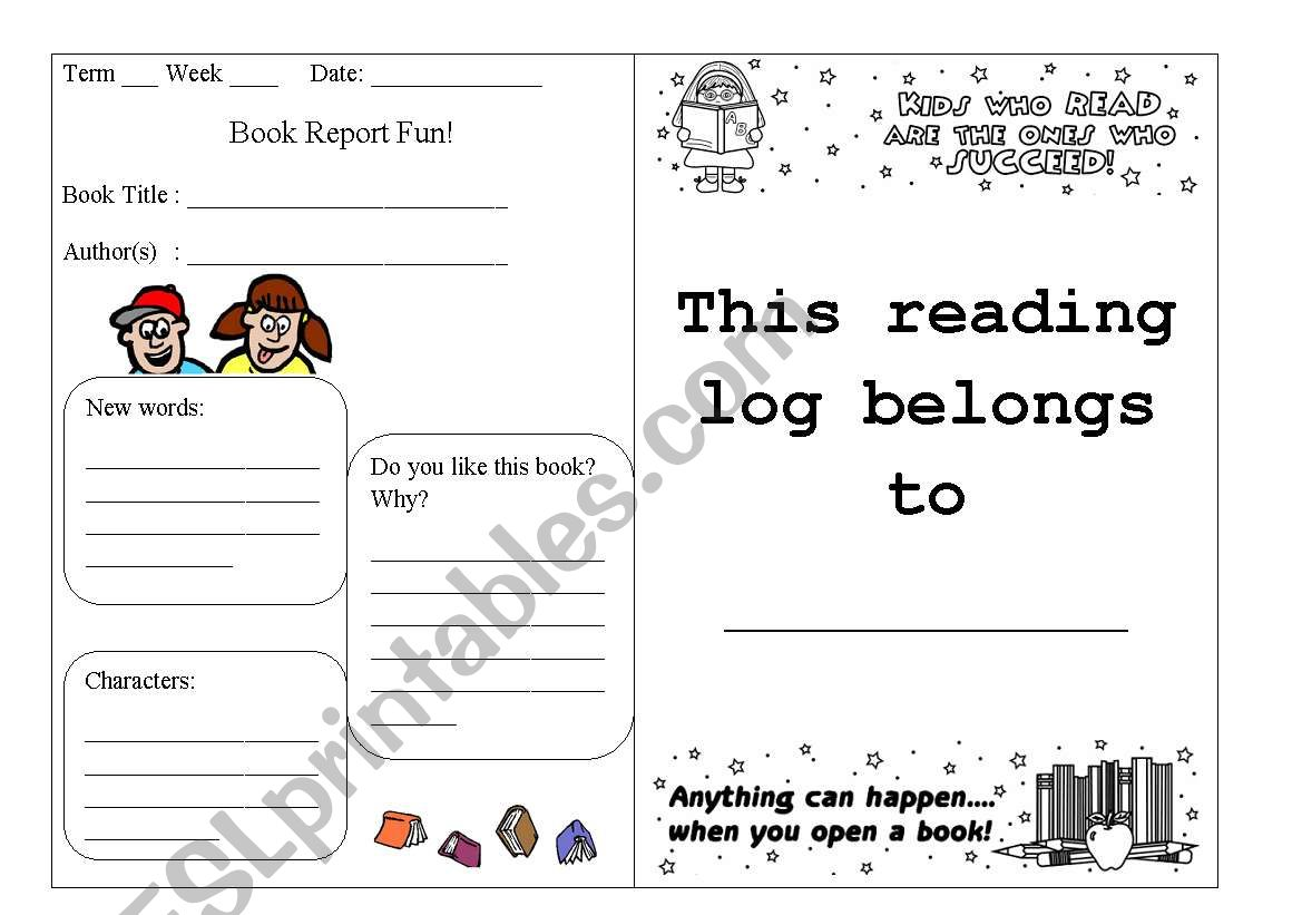 Reading Log Part 1 worksheet