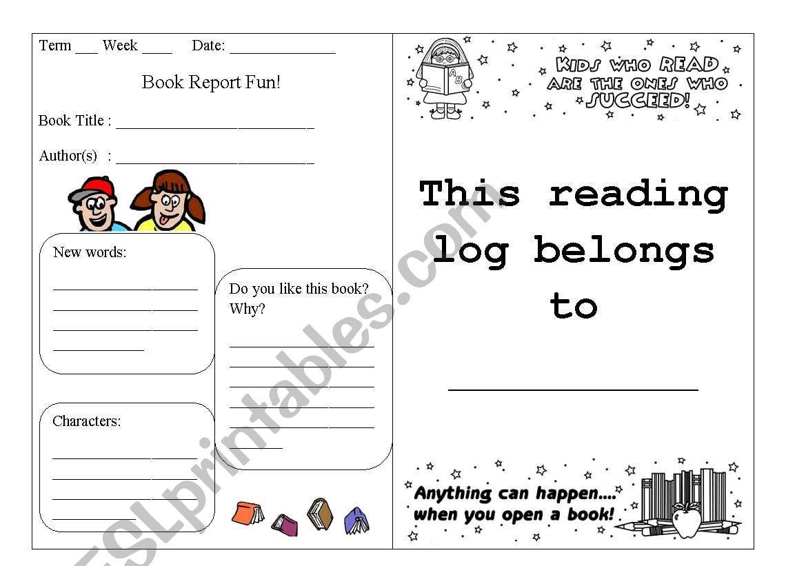 Reading Log Part 1 worksheet